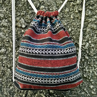 Backpack Aztec Tribal festival bag Boho Drawstring Ethnic Ikat pattern Woven Hippie Styles Rucksack Gypsy Rucksack Tote Bohemian stripes red