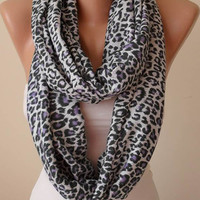 New - Valentine's Day Gift - Gray and Purple Leopard  Infinity Scarf - Soft Cotton Fabric