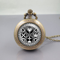 Kingdom Hearts Pocket Watch Locket Necklace,Kingdom Hearts Ultimania Trinity Emblem Symbol Logo,vintage pendant Pocket Watch Locket Necklace