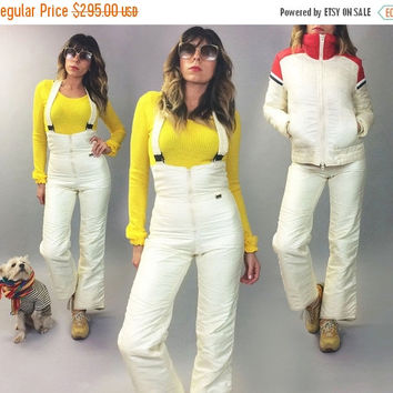 BLACK FRIDAY Vintage Rare 1970's Ski Snow Bunny Two Piece High Waisted Striped Overall Slalom Snowsuit || Snow Suit Bib Romper One Piece | S