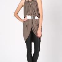 DRAPEY OPEN FRONT TUNIC DRESS - TAUPE