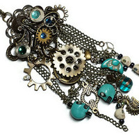 Jules Verne Inspired Octopus Steampunk Necklace, Steampunk Octopus Charm Necklace
