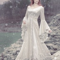 Victoria Velvet and Lace Fantasy Medieval Fairy Wedding Gown Custom