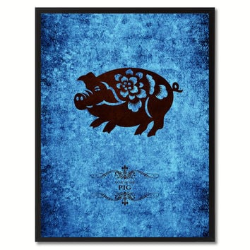 Pig Chinese Zodiac Canvas Print, Black Picture Frame Home Decor Wall Art Gift