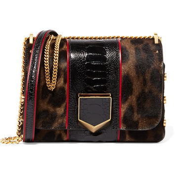 Jimmy Choo - Lockett Petite ostrich-trimmed calf hair shoulder bag