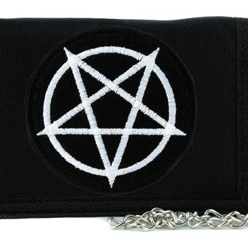 White Inverted Pentagram Tri-fold Wallet with Chain Occult Metal Clothing