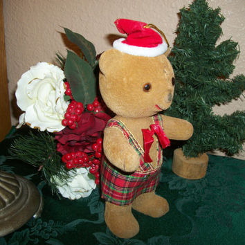 Brown Flocked Plastic Teddy Bear Wearing Santa Hat Figurine Vintage Christmas Decoration Retro Carnival Toy 1960's Kitsch