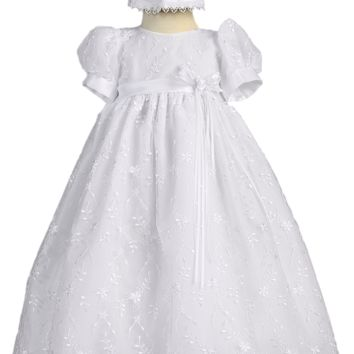 Flower Embroidered Girls Tulle Christening Gown & Bonnet 0-18m