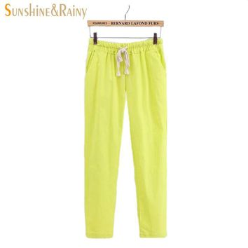 2016 Japanese Forestry style female summer leisure pants 11 candy colors drawstring pocket comfortable pantyhose pants woman xxl