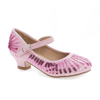 Quincy09 Pink Glitter By Sully's, Metallic Children's Girl Sparkling Mesh And Sequin Heeled Sandals
