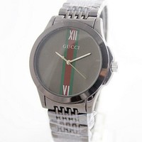 Gucci Fashion Men Women Casual Quartz Watch Exquisite Creative Striped Mirror Wrist Watch Black Belt Black Dial