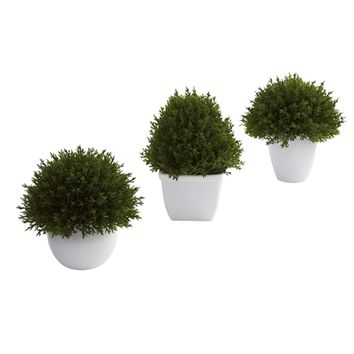 SheilaShrubs.com: Mixed Cedar Topiary Collection (Set of 3) 4977-S3 by Nearly Natural : BBQs