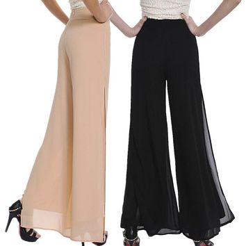 Vintage Loose High Waist  Chiffon Side Split Palazzo Pants