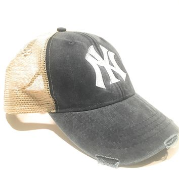 Mary's Monograms Monogrammed NY Yankees Navy Blue Distressed Trucker Hat