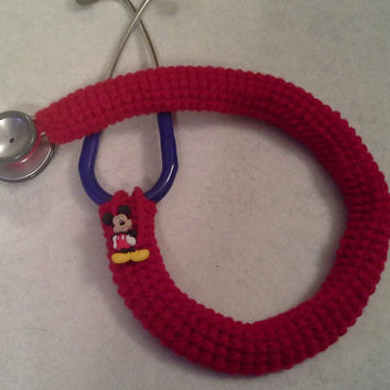 Disney Mickey Mouse Button Stethoscope Cover, Nurses Stethoscope Covers, LPN, RN, CNA, medical fashion accessories, crochet