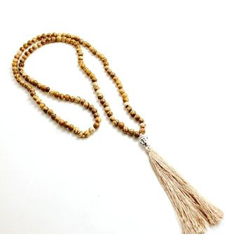 New Stone 6mm Beads Buddha pendant handmade tassel pendant necklace boho style women summer jewelry necklace