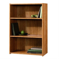 Modern Oak Finish 3-Shelf Bookcase with 2 Adjustable Shelves - Made in USA