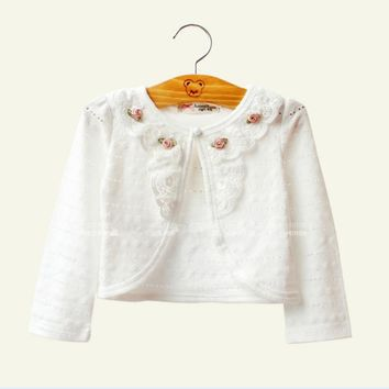 2017 Baby Girls Outerwear 100% Cotton White Baby Girl Jacket Cardigan Sweater For 1 Year Old Baby Girls Clothes RKC175005
