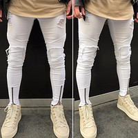 Men's Ripped Slim Fit Hip-hop Jeans