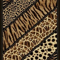6' X 8' AFRICAN SAFARI ANIMAL SKINS PRINT LINES HIGH QUALITY DENSITY AREA RUG