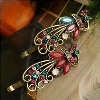Lovely Vintage Jewelry Crystal Peacock Hair Clip A-for hair clips Beauty Tools