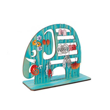 Turquoise Elephant Wooden Earring Holder , Earring Stand, Stud Earring Holder, Jewelry Box Alternative, Organize Earrings, Earring Storage