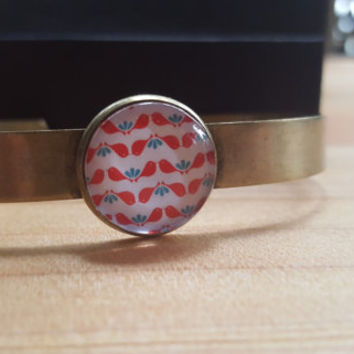 Cuff Bracelet Brass Red Bird Lovebirds Jewelry