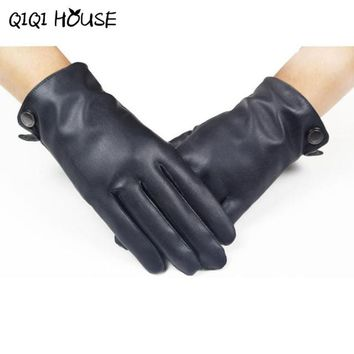 Hand Warmer Men's Smooth Leather Cashmere Gloves Winter Super Warm Driving Hand Protecter Luva Motociclista#B817