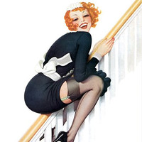 Pin Up Art Redhead In Maids Uniform Sliding Poster