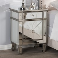 Baxton Studio Claudia Hollywood Regency Glamour Style Mirrored Nightstand Set of 1