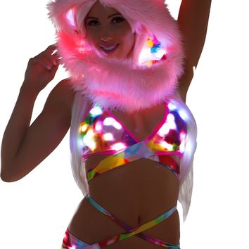 Balloon Light-Up Wrap Halter Top With Light-Up shorts