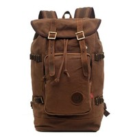 """Zlyc Men's Canvas Leather Hiking Travel Backpack Tote Bag Fit 15.6"""" Laptop Color Coffee"""