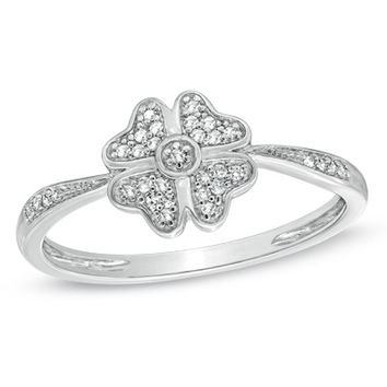 Diamond Accent Four-Leaf Clover Ring in 10K White Gold