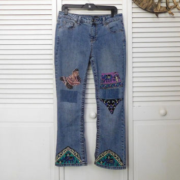 Hippie Patched Jeans Size 10p Low Rise Boho Style Clothes American Hippie Cowgirl Glam Bohemian Jeans Elephant Butterfly