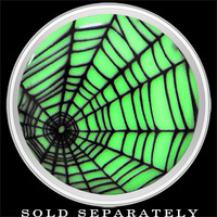 Black Spider Web Glow in the Dark Screw Fit Plug in Stainless Steel | Body Candy Body Jewelry