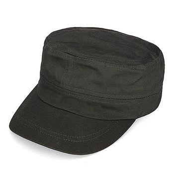 Men Women Plain Flat Outdoor Military Cap Wide Brim Sunshade Hat