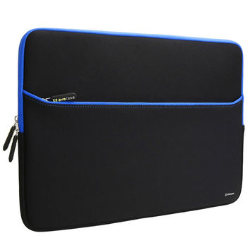 Evecase 11.6-Inch Neoprene Padded Slim Sleeve Case with Exterior Accessory Zipper Pocket for Laptop Notebook Chromebook Computer - Black with Blue Trim (Acer Asus Dell HP Lenovo Samsung Sony Toshiba Blue/Black 11.6inch
