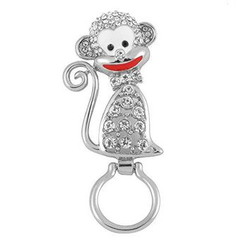 RUXIANG Crystal Enamel Monkey Animal Brooch Pin Magnetic Eyeglass Holder Clothes Jewelry