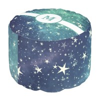 Green Starry Abstract Monogram Round Pouf