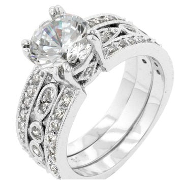 Elnora Round Cut Engagement and Wedding Set | 7ct | Cubic Zirconia