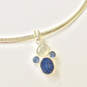 Dainty Druzy, moonstone and iolite sterling silver pendant