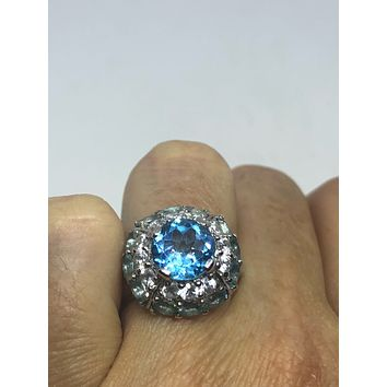 Vintage geniune London blue topaz and Aquamarine 925 sterling silver rhodium Ring