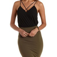 Black Caged Chiffon Wrap Bodysuit by Charlotte Russe