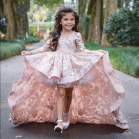 Lace Little Dresses with Full Sleeves Front Short Long Back Prom Dress Pageant Dresses