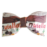 Nutella Jar Inspired Chocolate Hazelnut Spread Hair Bow or Bow Tie Yummy Fabric Bow