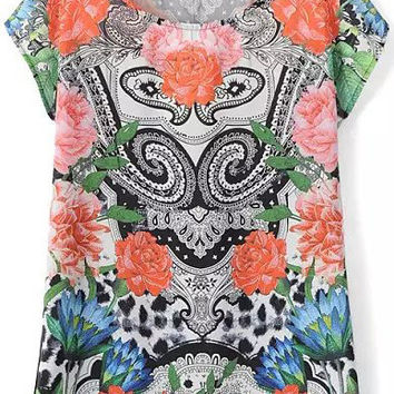 Multicolor Short Sleeve Floral T-Shirt
