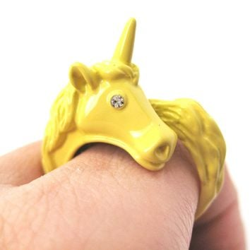 Large Detailed Unicorn Animal Wrap Around Ring in Yellow - Size 5 to 8