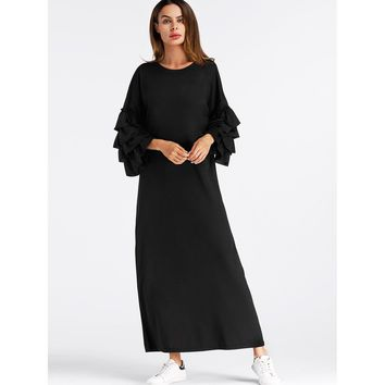 Tiered Frill Sleeve Long Hijab Dress Black