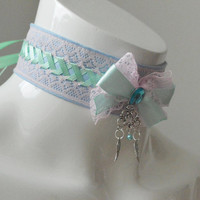 Kitten play collar - Angel wings - ddlg princess little girl - blue, pink and apple green laced - pet play neko girl larp costume cosplay