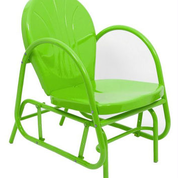Lime Green Outdoor Patio Glider Chair - Long Lasting Enamel Paint And Powder Coated Finish